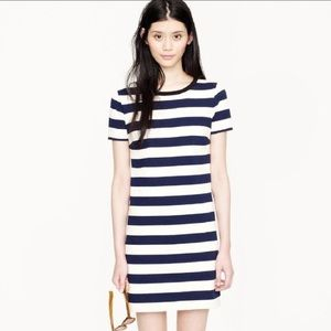 J Crew Rugby-stripe blue and ivory dress